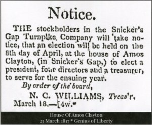 Notice Snickersville Turnpike Meeting 1817