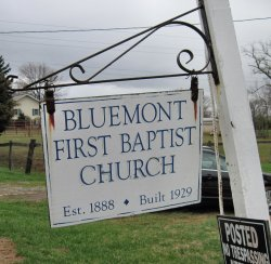 irst Baptist Church of Bluemont-Sign